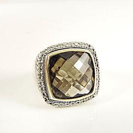 David Yurman Sterling Silver 18K Yellow Gold .48tcw 15x15mm Smoky Quartz Diamond Albion Ring