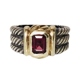 David Yurman Cable Sterling Silver and 14K Yellow Gold with Garnet Ring Size 8