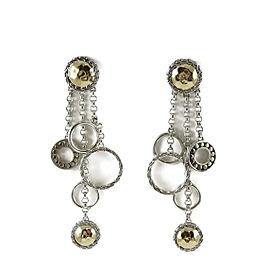 John Hardy Sterling Silver 18K Gold Palu Balan Multi Chain Dangle Earrings