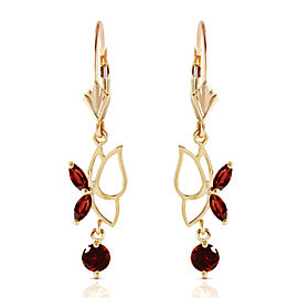 0.8 CTW 14K Solid Gold Butterfly Earrings Garnet