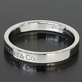 Tiffany & Co. 950 Platinum Logo Wedding Flat Band Ring US 9