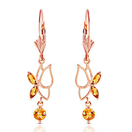 14K Solid Rose Gold Butterfly Earrings with Citrines
