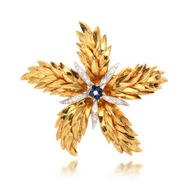 Tiffany & Co. 18K Yellow Gold with 0.52ct. Diamond and 0.10ct. Sapphire Flower Brooch