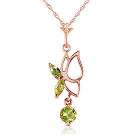14K Solid Rose Gold Butterfly Necklace with Peridots