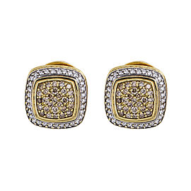 David Yurman 18K Yellow Gold 2.0 CT Diamond Cable Earrings