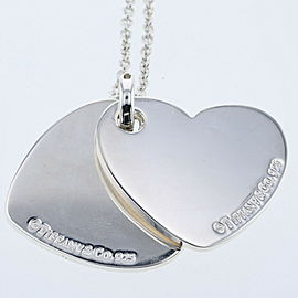 TIFFANY & Co 925 Silver Double heart Necklace TBRK-431