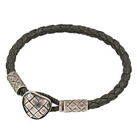 Bottega Veneta Intrecciato Leather Bracelet in Sliver 925