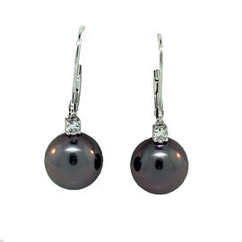 Mikimoto 18K White Gold Tahitian Pearl & Diamond Earrings