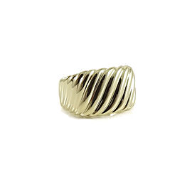 David Yurman 18K Yellow Gold Sculpted Cable Cigar Band Ring Size 7.75