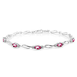 3.39 CTW 14K Solid White Gold Tennis Bracelet Pink Topaz Diamond