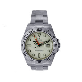 Stainless Steel Rolex Explorer II Model 216570 with White Dial