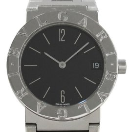 Bulgari Stainless Steel with Black Dial Quartz 30mm Mens Watch