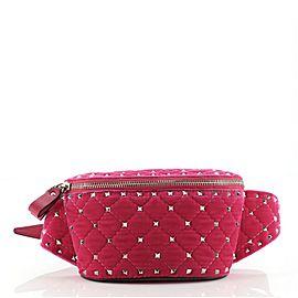 Valentino Rockstud Spike Belt Bag Quilted Velvet