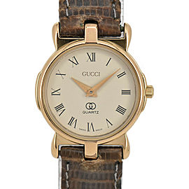 GUCCI 3400F L Ivory Dial GP/Leather Quartz Ladies Watch
