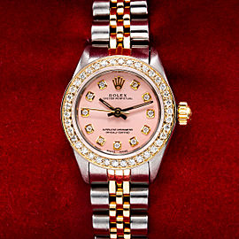 Two Tone Rolex Oyster Perpetual 26mm Pink Dial With 0.90CT Diamond Bezel