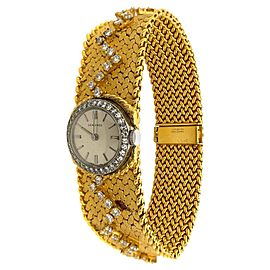 Cartier 18 Karat Yellow Gold Diamond Longines Movement Wristwatch