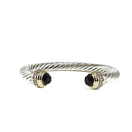 David Yurman Sterling Silver 18K Yellow Gold .48tcw 7mm Smoky Quartz Diamond Cable Classics Bracelet