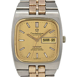 OMEGA Constellation Date Champagne Gold Dial SS/GP Automatic Men's Watch