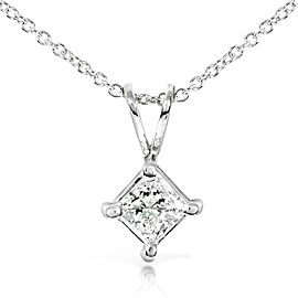 "Princess Diamond Solitaire Pendant 1/3 Carat in 14K Gold (16"" Chain) - white-gold"