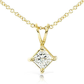 "Princess Diamond Solitaire Pendant 1/3 Carat in 14K Gold (16"" Chain) - yellow-gold"