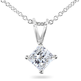 Diamond Solitaire Pendant 1/2 carat in 14K Gold - white-gold