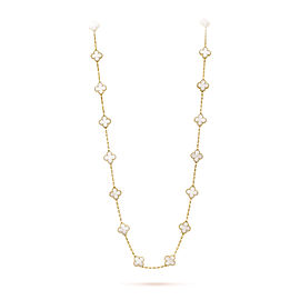 Van Cleef & Arpels Alhambra 18K Yellow Gold with Mother of Pearl 20 Motif Necklace