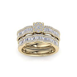 Wave bridal ring set in 18K gold with white diamonds of 1.17 ct in weight