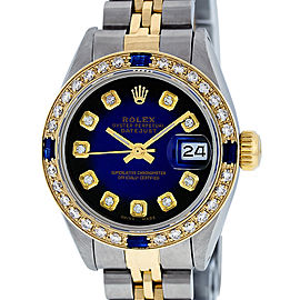 Rolex Datejust SS and 18K Yellow Gold Blue Vignette Dimond Dial 26mm Women's Watch