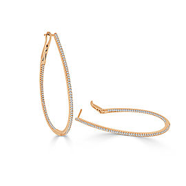 14K Rose Gold Skinny Inside Out Pear Shape Diamond Hoop Earrings