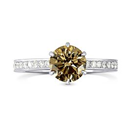 Leibish 18K White Gold Fancy Brown Round Brilliant Cut Diamond Engagement Ring Size 5