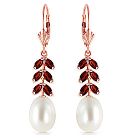 14K Solid Rose Gold Leverback Earrings with Garnets & Cultured Pearls