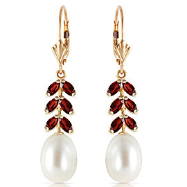 9.2 CTW 14K Solid Gold Fern Garnet Cultured Pearl Earrings