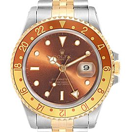 Rolex GMT Master II Rootbeer Ghost Dial Yellow Gold Steel Mens Watch 16713