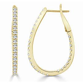 14K Yellow Gold Diamond Inside Out Pear Shape Hoop Earrings