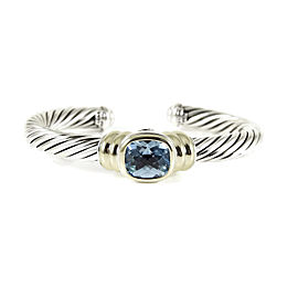 David Yurman Sterling Silver 14K Yellow Gold Blue Topaz Noblesse Bracelet