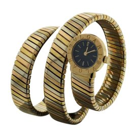 Bulgari Tubogas 18K Yellow, White and Rose Gold Womens Watch