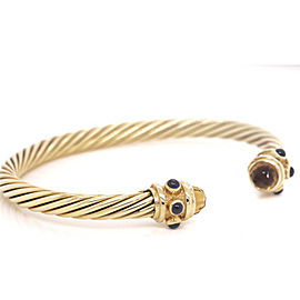David Yurman 14k Solid Gold 5mm Renaissance Citrine & Sapphire Bracelet--Small