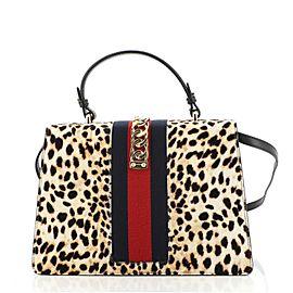 Gucci Sylvie Top Handle Bag Printed Calf Hair Medium