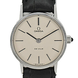 OMEGA de vill Silver Dial SS/Leather Cal.625 Hand Winding Ladies Watch