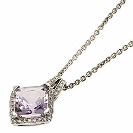 MAUBOUSSIN 18K White Gold Rose de France Amethyst Diamond Necklace TNN-2019