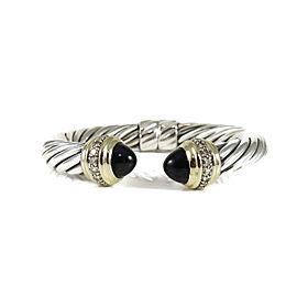 David Yurman Cable 18K Yellow Gold, Sterling Silver Onyx, Diamond Bracelet