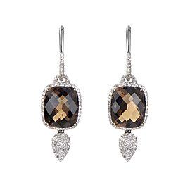 Natalie K 14K White Gold Smokey Quartz & Diamond Drop Earrings