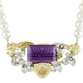 18K Yellow Gold Pt900 Platinum amethyst diamond Brooch 2 pattern pearl Necklace CHAT-910