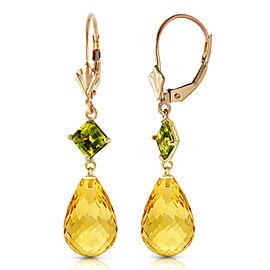 11 CTW 14K Solid Gold Panorama Citrine Peridot Earrings