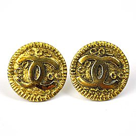 Chanel Gold Tone Metal CC Mark Clip-on Earrings
