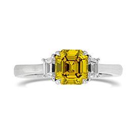 Leibish 18K White Gold Fancy Deep Greenish Yellow Diamond Engagement Ring Size 5.75