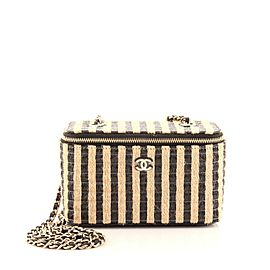 Chanel Classic Vanity Case with Chain Striped Raffia and Jute Small