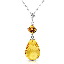5.5 CTW 14K Solid White Gold Calm After Storm Citrine Necklace