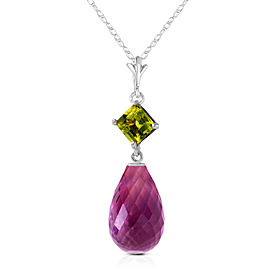5.5 CTW 14K Solid White Gold Necklace Peridot Purple Amethyst