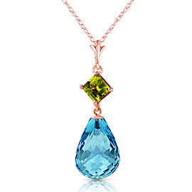 14K Solid Rose Gold Necklace with Peridot & Blue Topaz